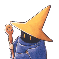 Kazuko Shibuya artwork of a Black Mage for <i>Final Fantasy IV</i> (SNES).