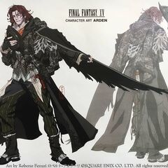 Artwork of Ardyn Izunia and his black wing accessory.