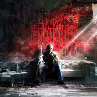 Concept art of Noel in his den. The red paint reads