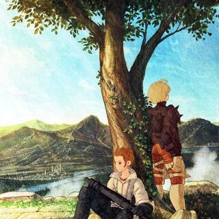 Artwork of Balthier and Ramza from <i>Final Fantasy Tactics: War of the Lions</i>.