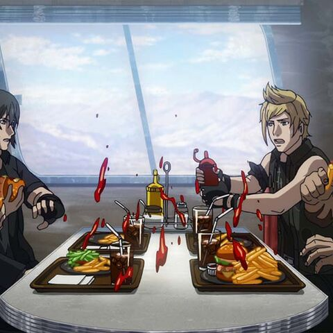 Ignis and the party eating in a restaurant.