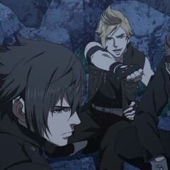 Prompto and the party ready to fight Niflheim troops.