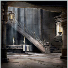 Concept artwork of the bottom of the staircase.