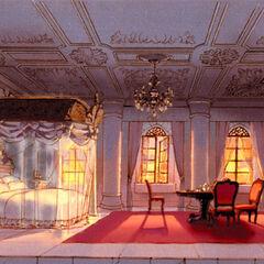 Concept art of Garnet's room in Alexandria Castle.