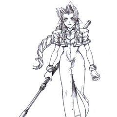 Concept art of Aerith by Tetsuya Nomura.