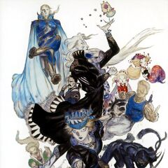 Yoshitaka Amano artwork of Strago with the rest of the cast of <i>Final Fantasy VI</i> (Advance).