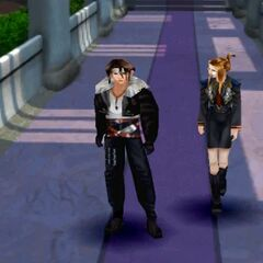 Quistis with Squall in a corridor on Balamb Garden.