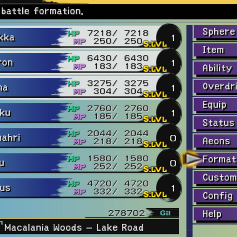 The Formation menu (PS2).