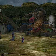 Auron and Yuna helping Seymour to fight Sinspawn Gui.