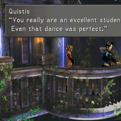 Quistis complimenting Squall on his dancing.