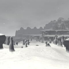 A slope with many snowy pillars.