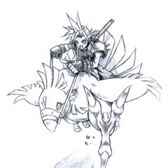 Cloud on a Chocobo.