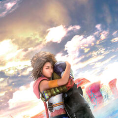Artwork by Tetsuya Nomura of Tidus and Yuna's reunion.