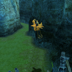 Player jumps on a chocobo in <i>Final Fantasy X</i>.