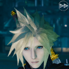 Cloud interacts with the player.
