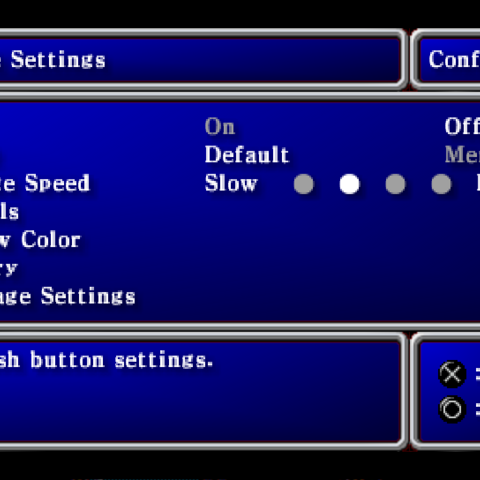 Config menu in the PSP version.