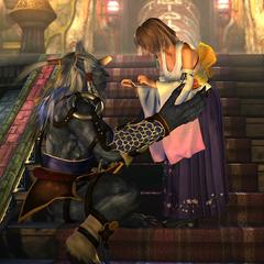 Kimahri assisting Yuna in an FMV.
