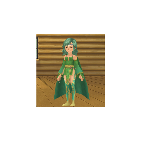 An avatar dressed as Rydia from the Square-Enix Members Virtual World.