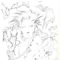 Sketch by Yoshitaka Amano.