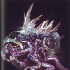 Concept art of Rem and Machina in crystal stasis.