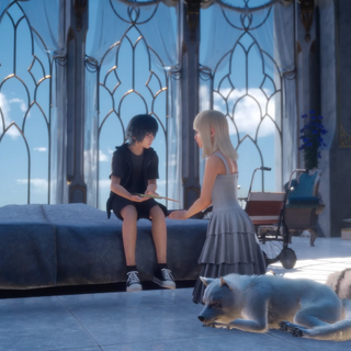 Luna shows Noctis her notebook the first time.