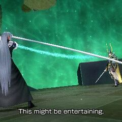 Sephiroth facing the Warrior of Light in <i>Dissidia Final Fantasy</i>.