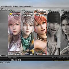 Party selection screen in <i>Final Fantasy XIII</i>.