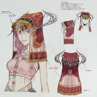 Concept artwork of Vanille's headdress.