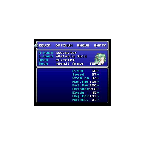 The Equip menu (SNES).