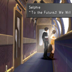 Selphie and Squall on a train.