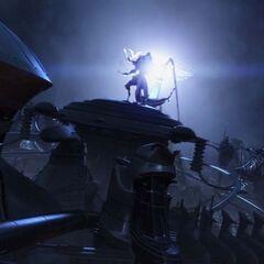 Ragnarok appears in Eden as Cocoon falls.