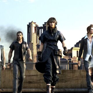 Gladiolus with Prompto, Noctis, and Ignis.