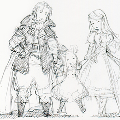 Sketch of a young Edea and her parents.