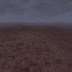 A desert battle background on the world map, under the influence of Mist.