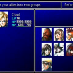 <i>Final Fantasy VII</i> party selection screen.