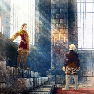 Artwork of Delita and Ramza from <i>Final Fantasy Tactics: War of the Lions</i>.