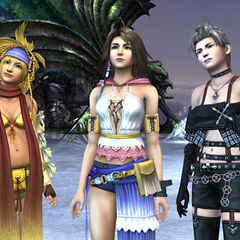 Paine with Yuna and Rikku in the end of <i>Last Mission</i>.