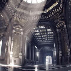 Concept art depicting the Kingdom of Lucis's interior.