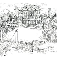 Concept art of the town square.