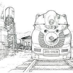 Concept sketch of the train station with a train.