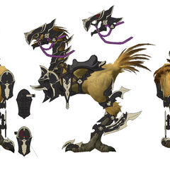 Concept art of a chocobo with dragoon barding.