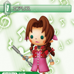 Trading card of Aerith with <i>Theatrhythm Final Fantasy</i> artwork.