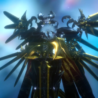 Bahamut is an armored man with wings made out of swords.