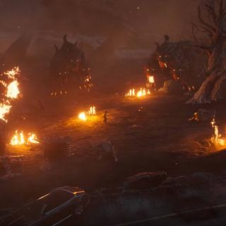 Cerberuses surround Noctis in <i>Omen</i>.