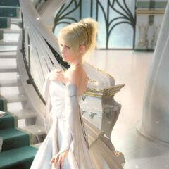 Luna in wedding dress.
