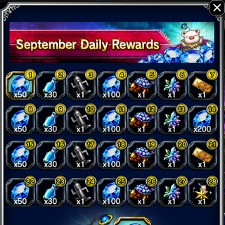 September 2016 Daily Rewards for global release.
