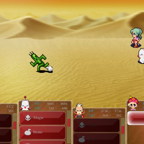 Cactuar in battle (iOS/Android).