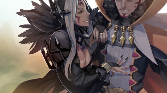 File:Aversa Snuggling with Gangrel Art.png