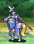 Zelots' static battle pose holding a lance