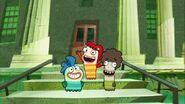 Milo, Bea and Oscar on the school step